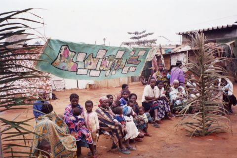 Internally displaced peoples' camp and health promotion project.